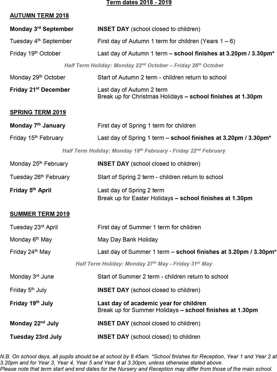 term dates wimbledon chase primary school