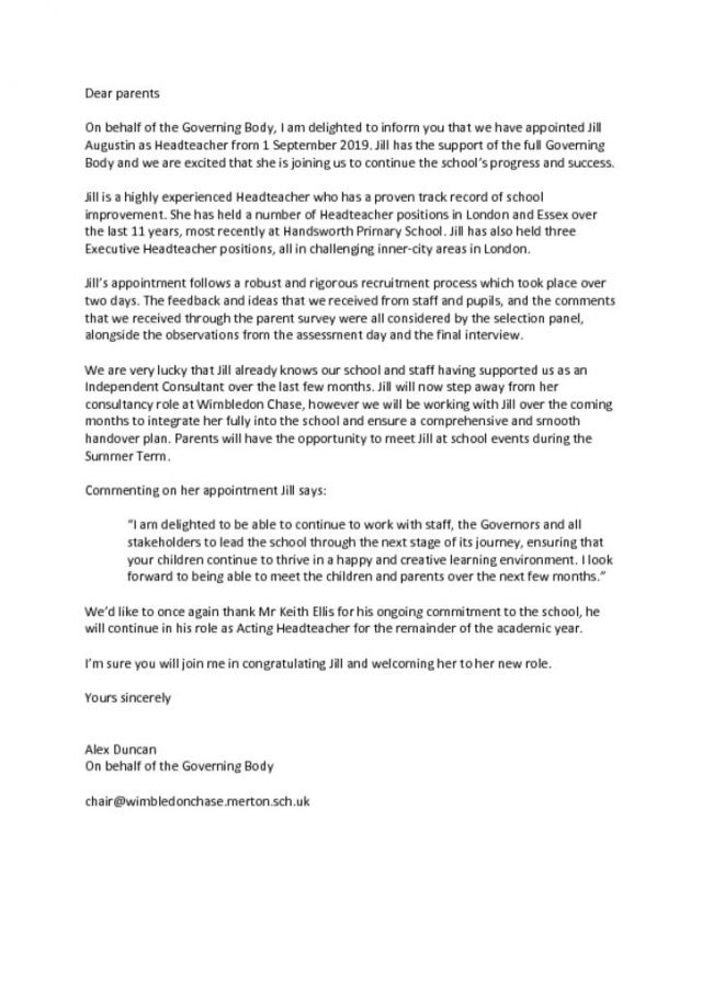 thumbnail of Letter to parents HT appointment Feb19