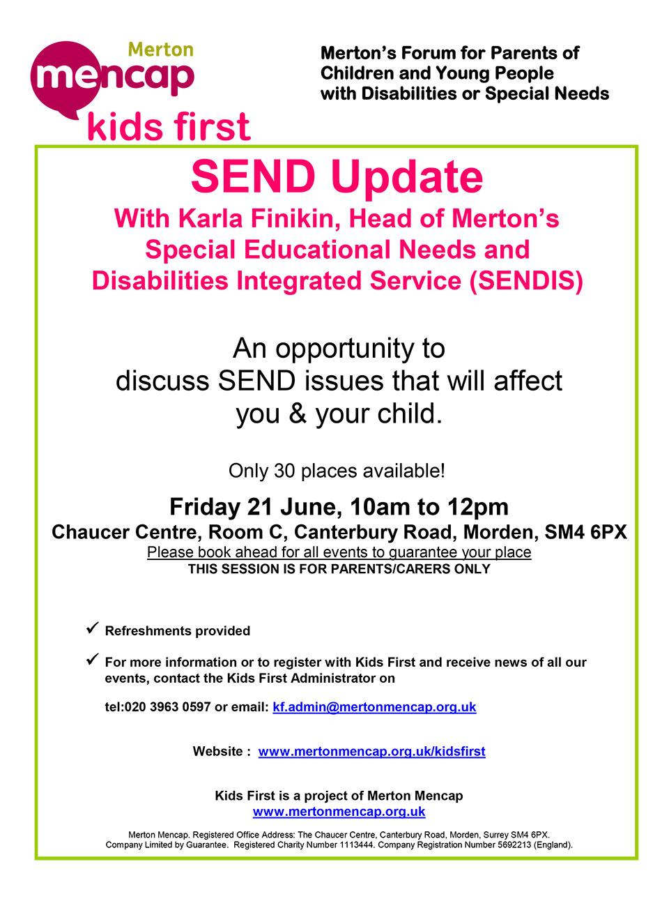Kids First Event: SEND Update, Friday 21 June – Wimbledon