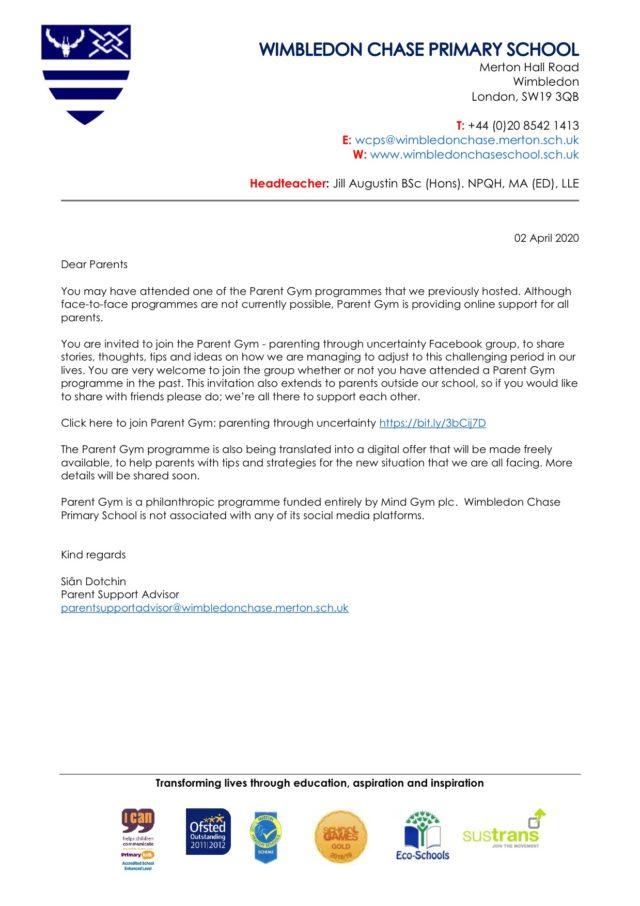 Parent Gym Digital Support Letter