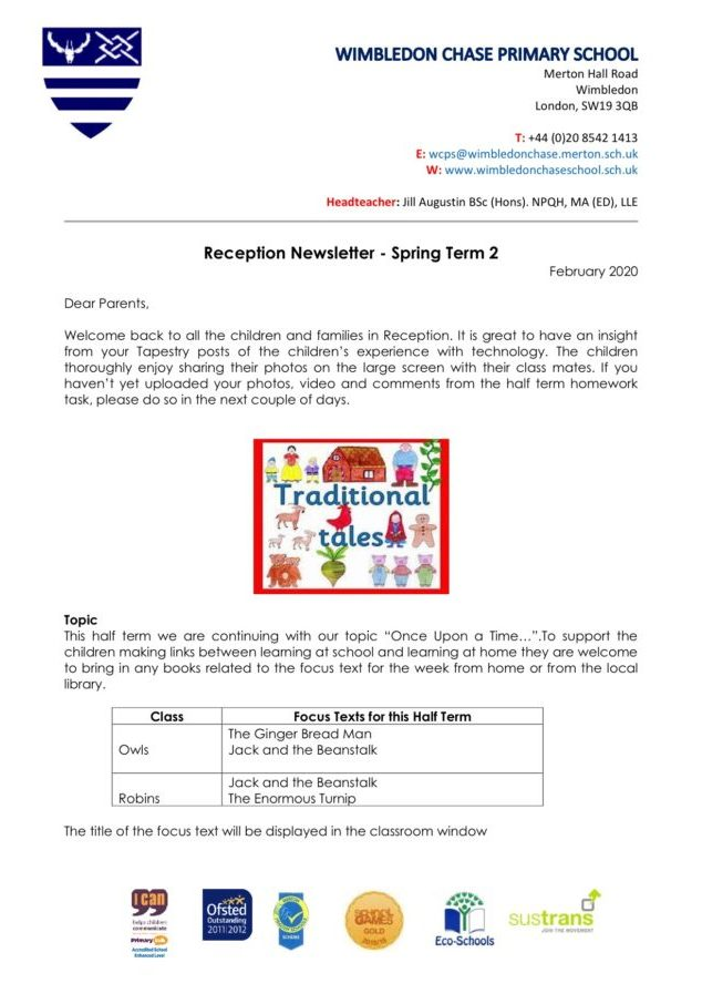 Reception Newsletter Spring Term 2